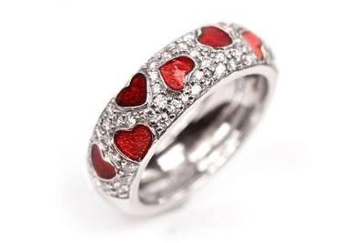 WG Red enamel hearts