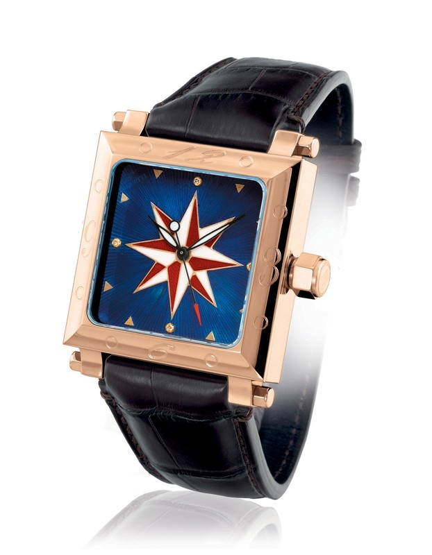Compass Rose Blue Gold