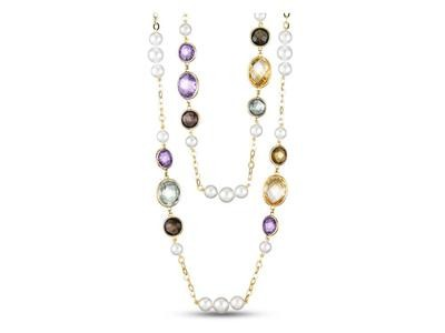 18KT Yellow Gold Freshwater Pearl Chain Necklace with Amethyst, Citrine, Blue Topaz & Smoky Quartz