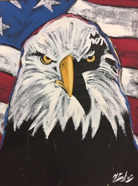 Eagle with flag (Front View) Practice Piece
