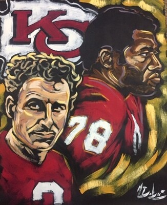 Jan Stenerud and Bobby Bell (Original on Black Paper)