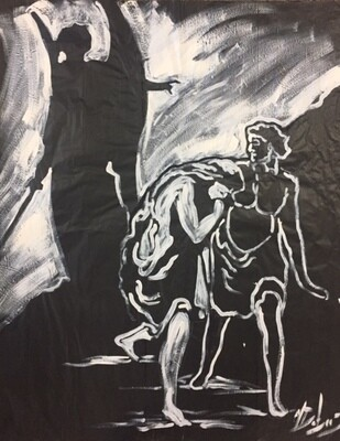 The Expulsion (Practice piece on black paper)