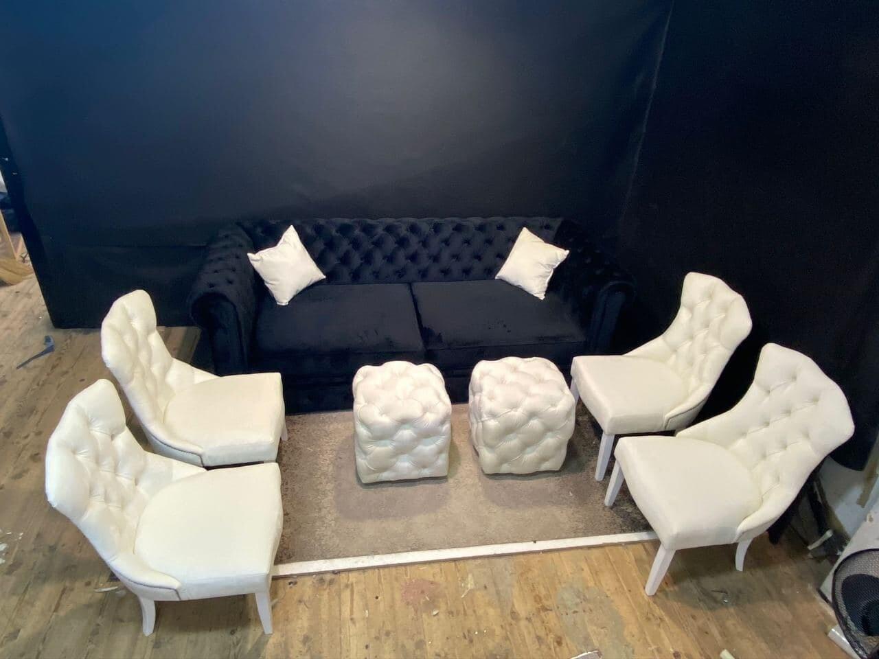 Комплект диван, 4 стула, 2 пуфа