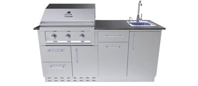 Caprice 6 foot Grill & Bar Sink Outdoor Island Package