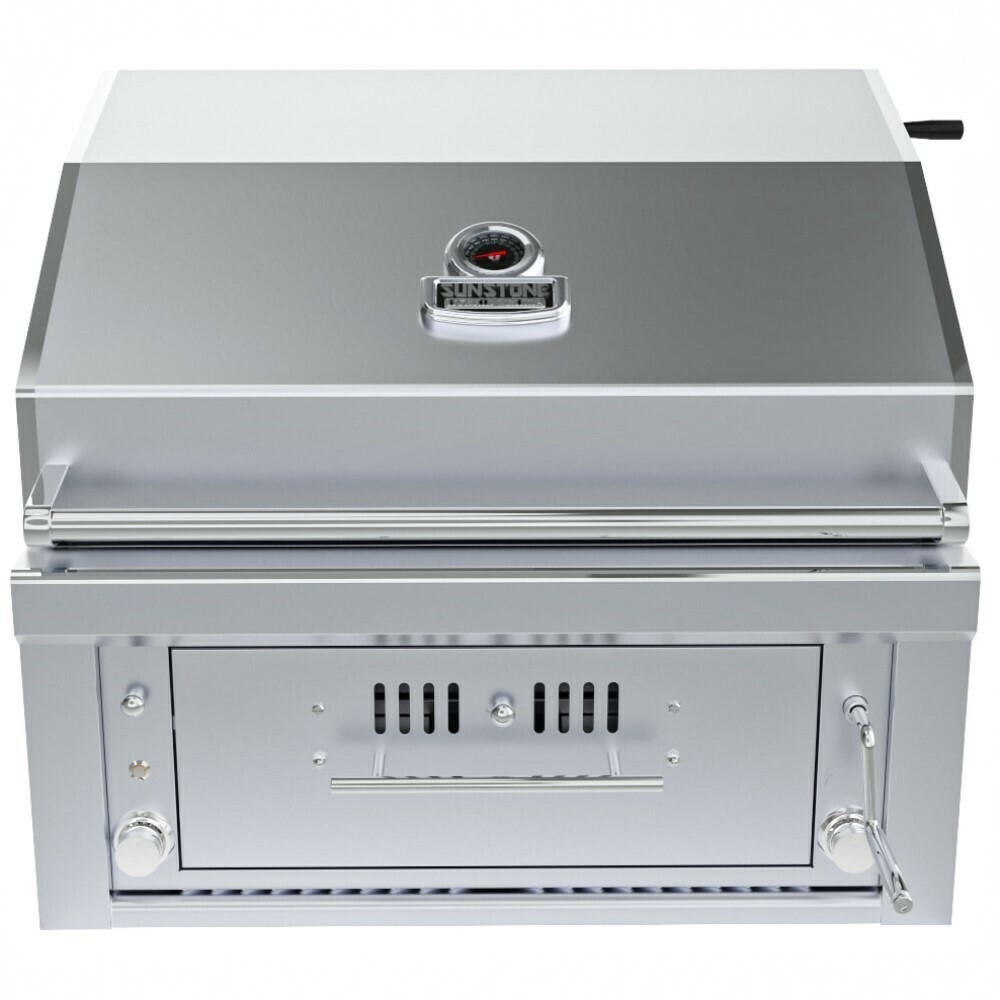 "30"" Gas Burners Hybrid Single Zone Charcoal/Wood Burning w/Infra-Red Burner Grill - SUNCHSZ30IR"