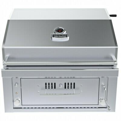 "30"" Gas Burners Hybrid Single Zone Charcoal/Wood Burning w/Infra-Red Burner Grill - SUNCHSZ30IR"