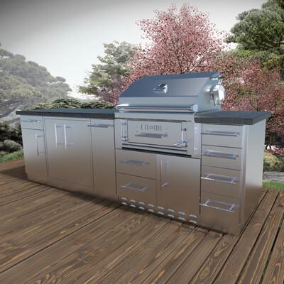 ALAMO 9' Hybrid Gas Charcoal Grill island package