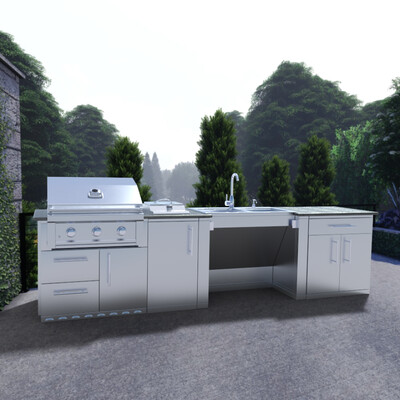 """CABANA 10'-8"""" ADA Compliant Grill/Burner & Double Sink Island Package"""