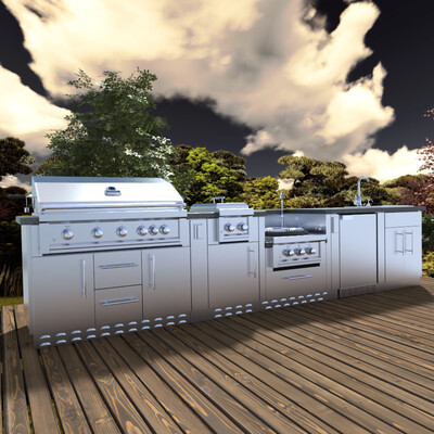 """HILL COUNTRY 13'-6"""" Expansive Island Package with our Largest Gas Grill, Highest performing Power Burner, Dual Burners and Premium Sink Package."""