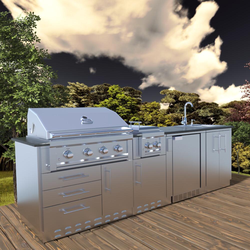 "HOUSTON 9'-8"" Grill/Double Burner/Bar Sink & Fridge Island Package"