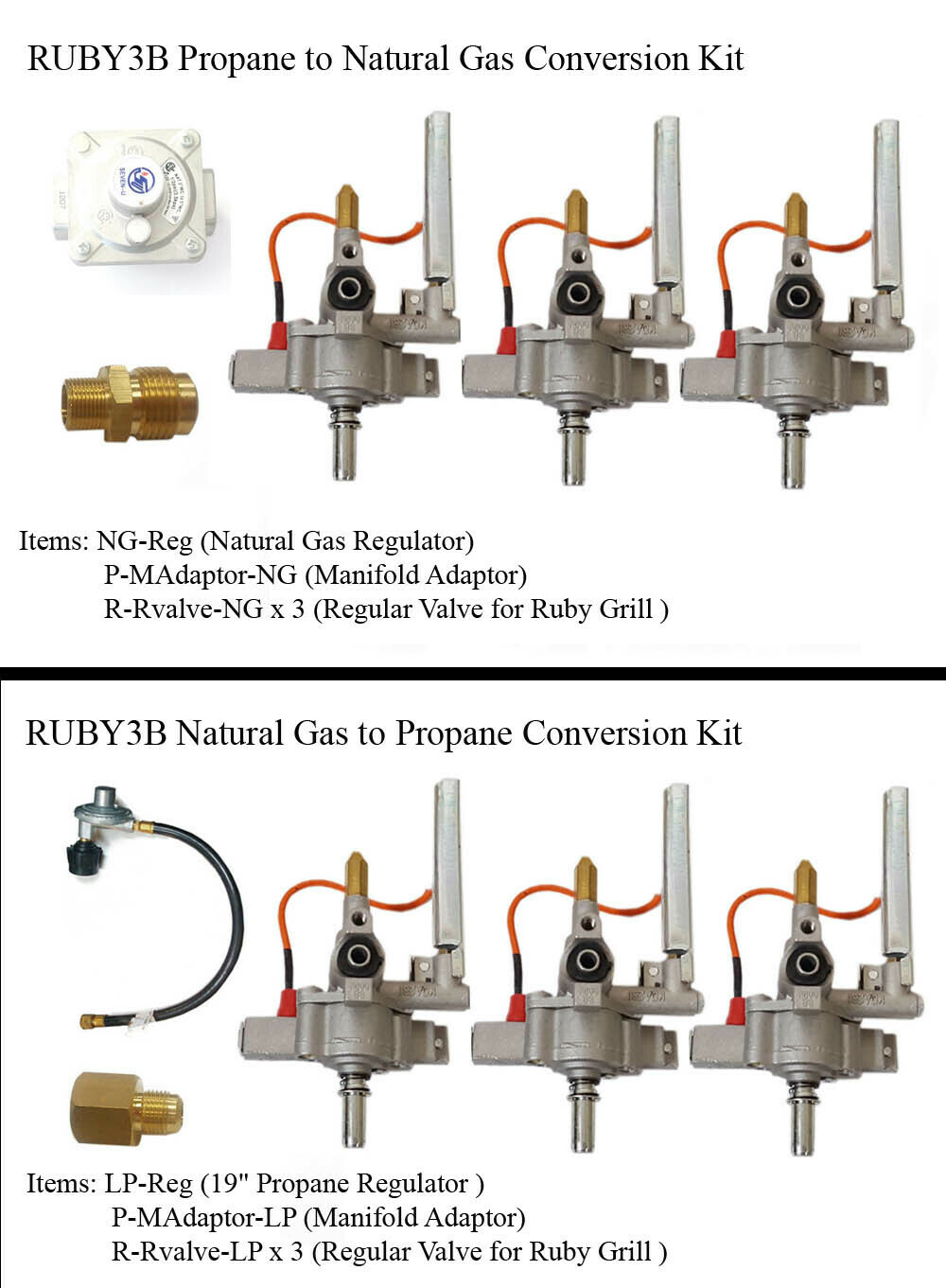 "Conversion Kit for Ruby3B-30"" Gas Grill"