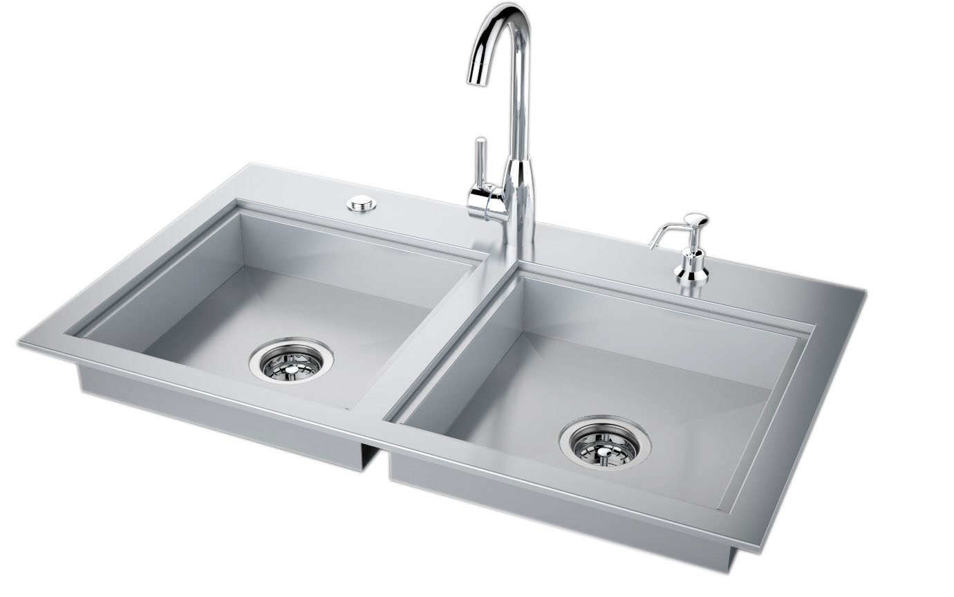 """37"""" ADA Compliant Double Sink with Covers & Hot/Cold Faucet Item No.ADASK37"""
