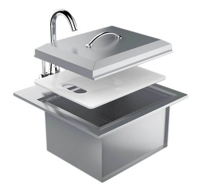Premium Drop In Sink W/ Hot and Cold water Faucet & Cutting Board - Item No. B-PS21
