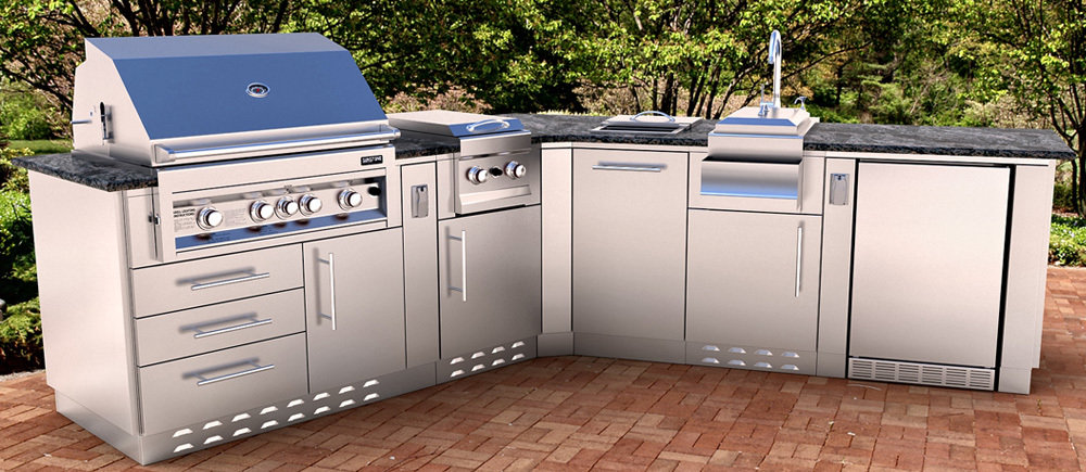 The Victory, V-Shape Cabinet Island w/Grill & Components  - Item No. SCIV01