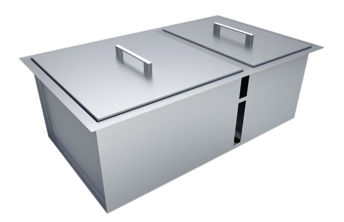 """Over/Under 34"""" x 12"""" Height Double Basin Sink w/2 Covers Item No. B-SK34"""