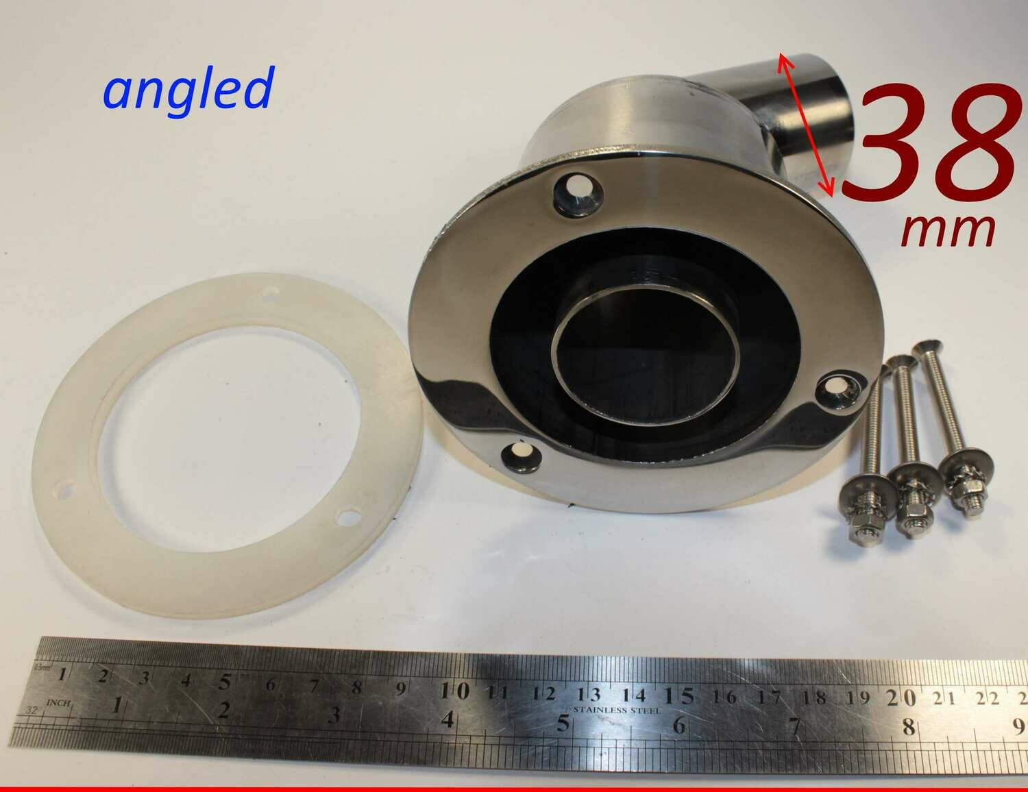 Exhaust thru hull outlet / skin fitting 38mm (angled marine stainless steel)