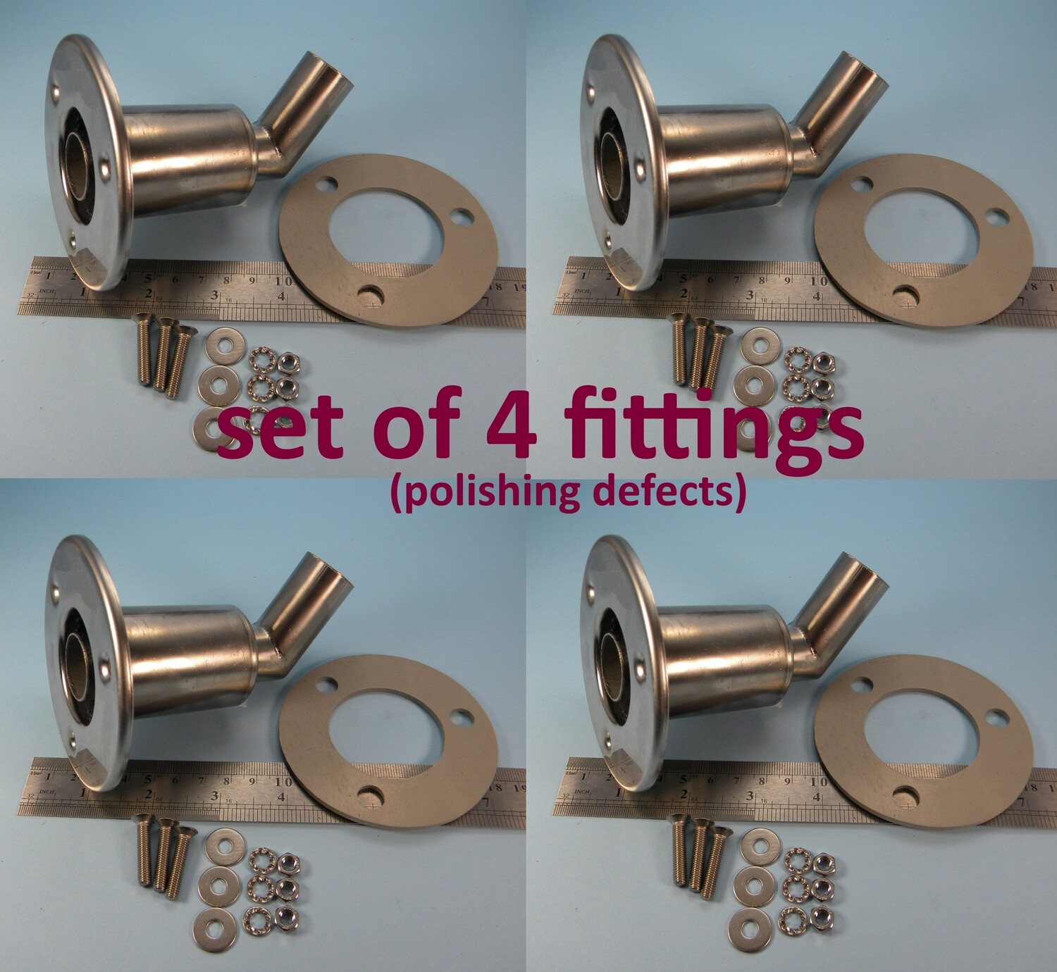 Set of 4 fittings (SALE, slight polishing defects)