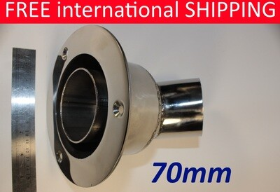 Exhaust thru hull outlet / skin fitting 70mm (angled marine stainless steel)
