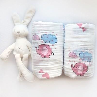 Муслиновая пеленка «Розовые слоники»