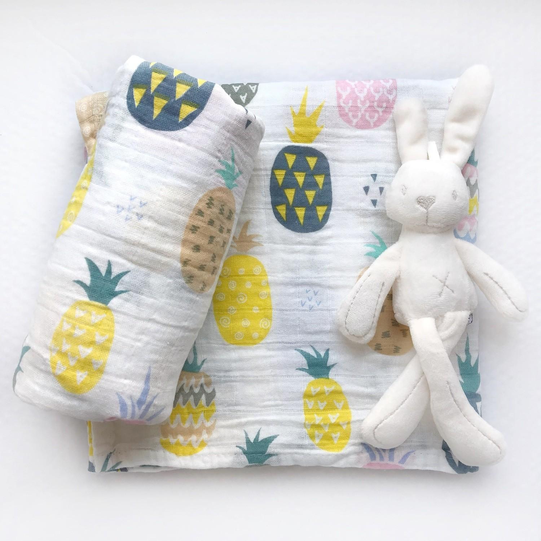 Муслиновая пеленка «Разноцветные ананасы»