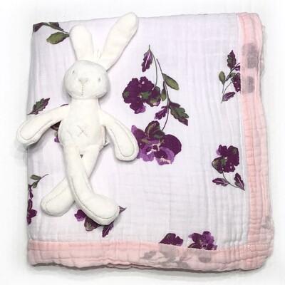 Муслиновое одеяло «Бордовые цветы»