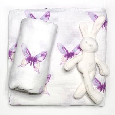 Муслиновая пеленка премиум качества «Бабочки»