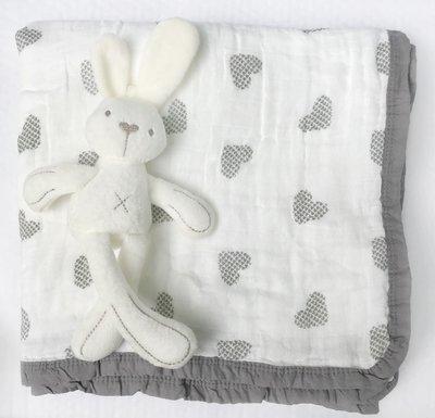 Муслиновое одеяло «Сердца»