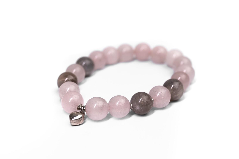 """Браслет з натурального каменю рожевий кварц і селеніт """"Tenderness"""""""