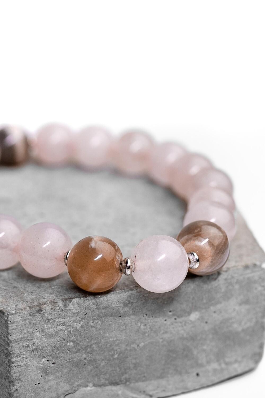 """Браслет з натурального каменю рожевий кварц і селеніт """"Pink Quartz"""""""