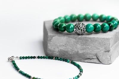 Сет браслетів з натурального каменю малахіт