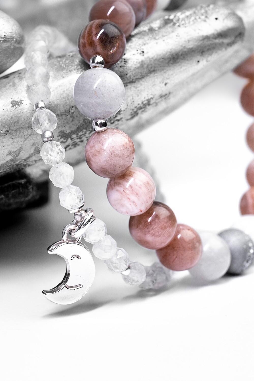 """Сет """"Нут"""" селеніт / місячний камінь / сірий агат, срібло 925."""