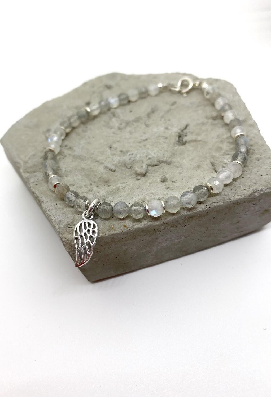 """Браслет з натуралного каменю лабрадорит і місячний камінь""""Star Dust"""""""
