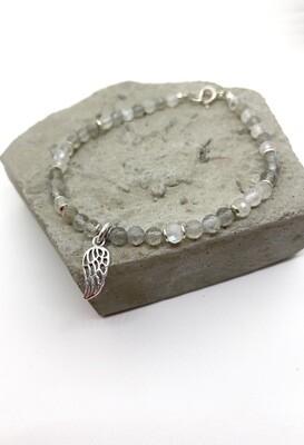 Браслет з натуралного каменю лабрадорит і місячний камінь