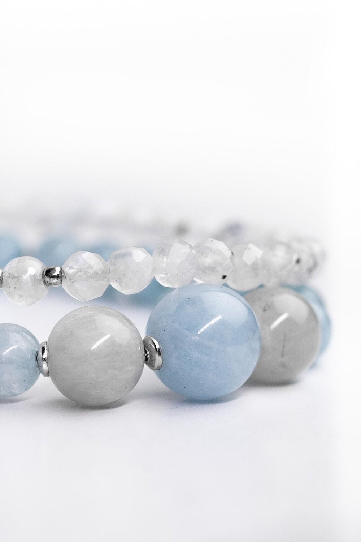 """Сет """"Сніжинка"""" аквамарин/ місячний камінь, срібло 925."""