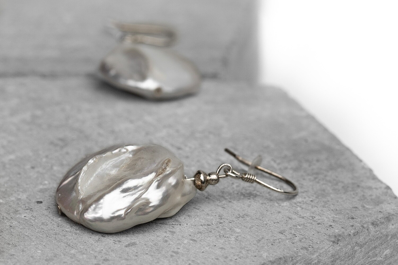 """Сережки """"Бохо"""" перли бароко, срібло 925."""