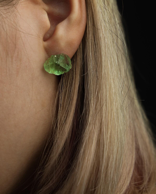 """Сережки """"Снотра"""" з зеленим флюоритом, срібло 925."""