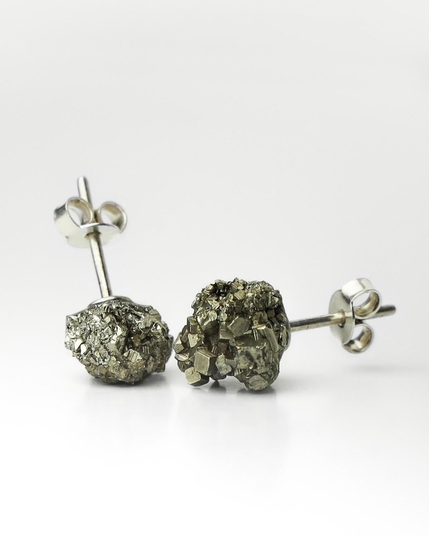 """Сережки """"Сага"""" M пірит, срібло 925"""