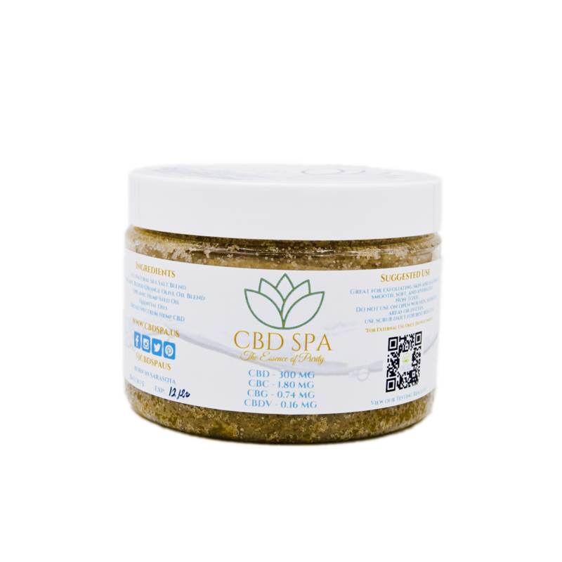 300 mg CBD Spa Broad Spectrum Hemp CBD Salt Scrub - 12 oz