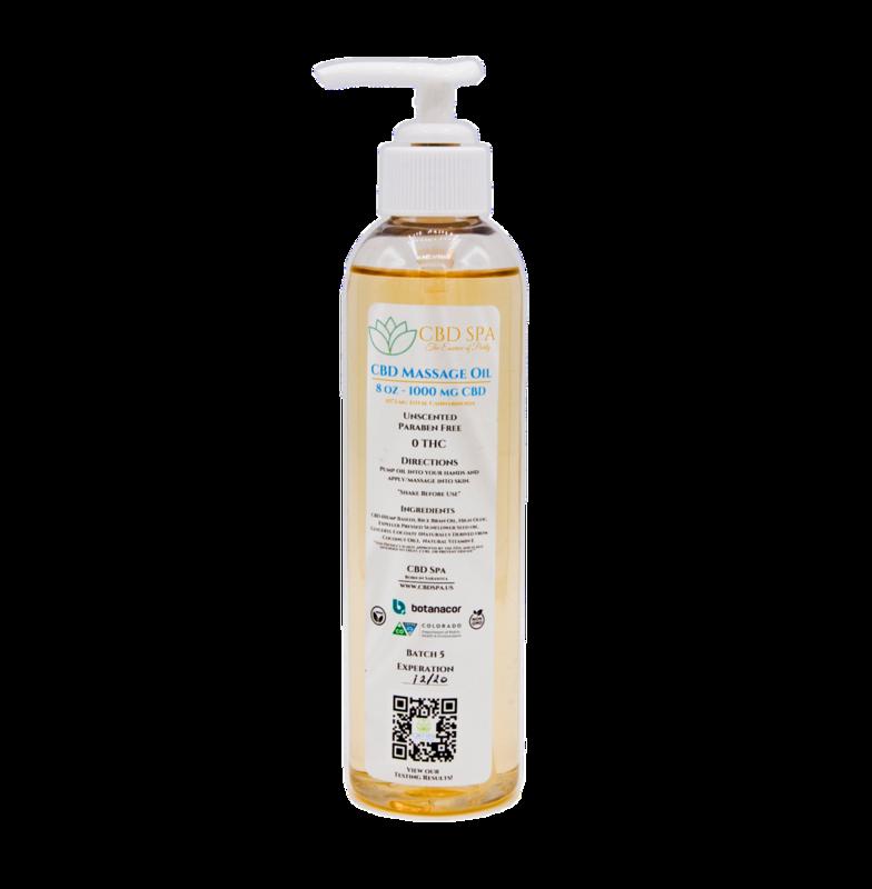 1000 MG CBD Spa Massage Oil - Broad Spectrum Hemp CBD 8 oz