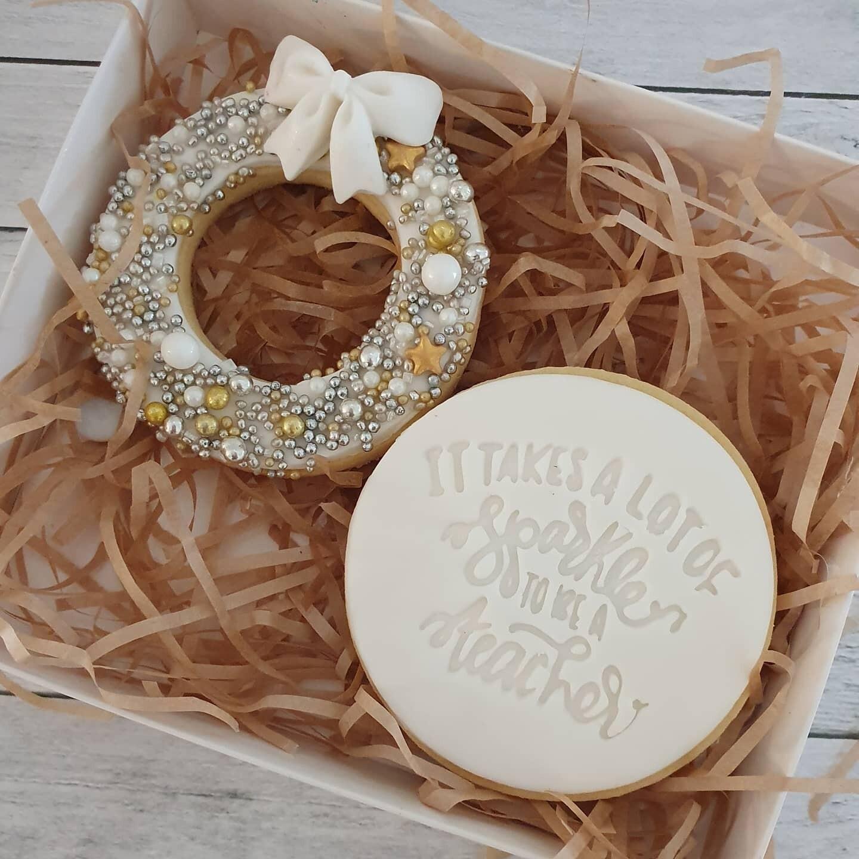 Sparkling Teacher White Christmas 2020 Cookies - 2 pack