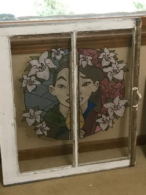 Upcycled Vintage Faux Stained Glass Window