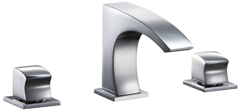 Double-handle 3-hole washbasin mixer