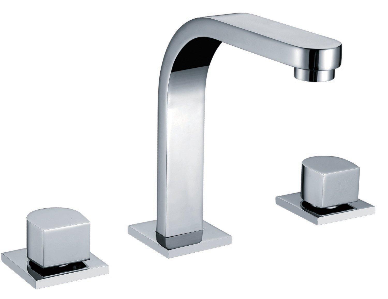 Double-handle 3-hole lavatory mixer