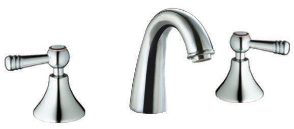 Double-handle 3-hole lavatory faucet