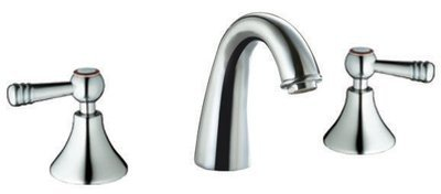 Double-handle 3-hole lavatory faucet