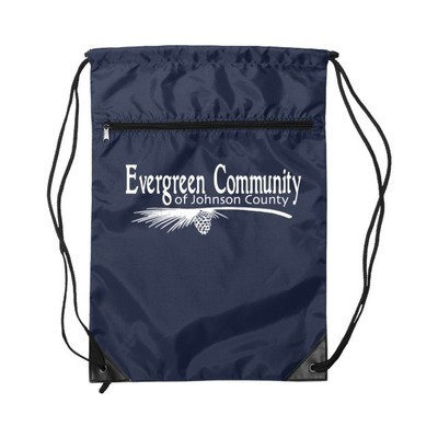 Nylon Zippered Drawstring Backpack