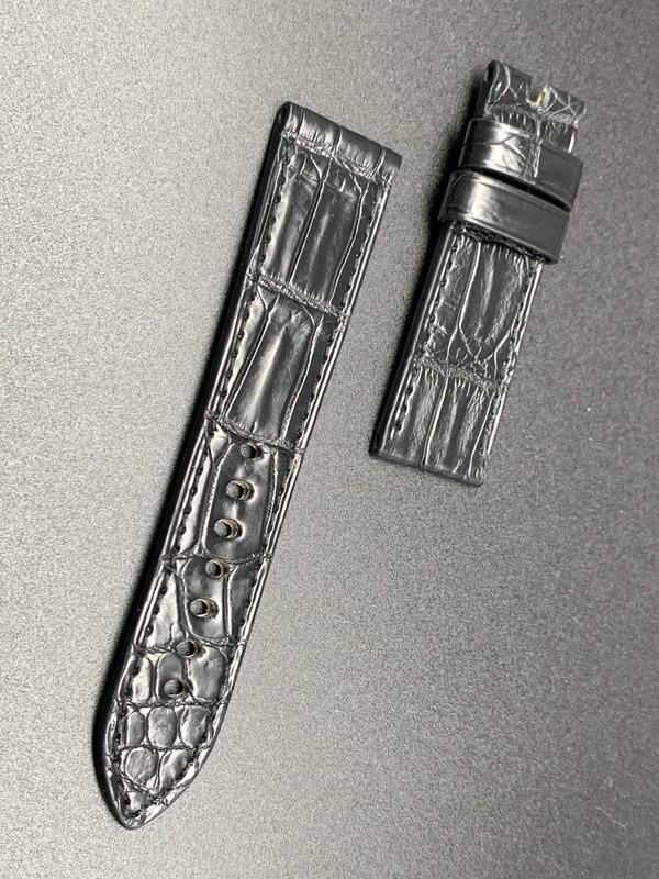 24mm strap black crocodile handmade