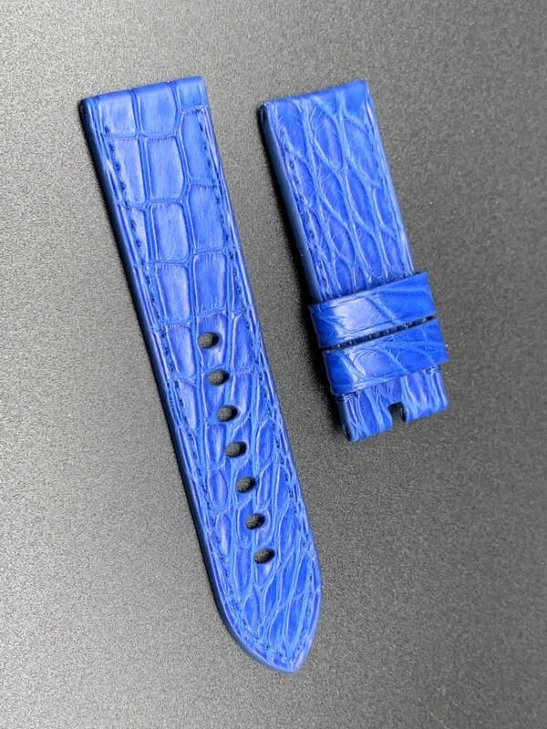 24mm strap blue crocodile handmade