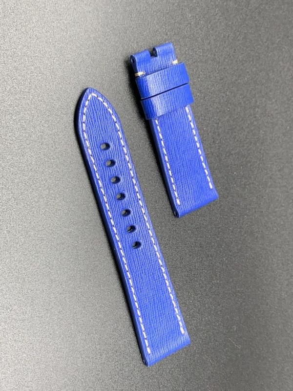 24mm strap blue saffiano handmade
