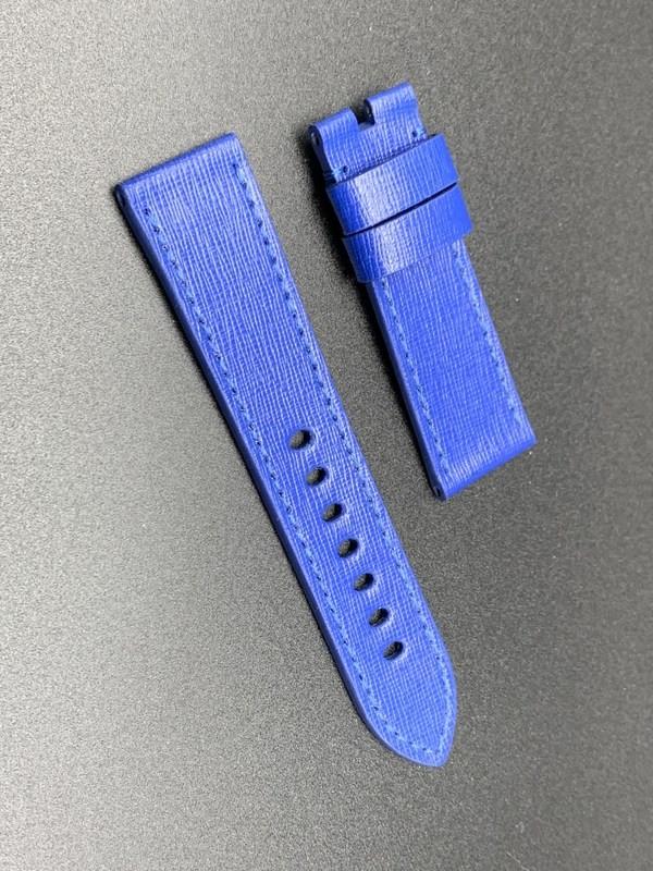 24mm strap total blue saffiano handmade
